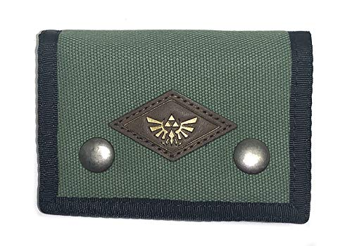 The Legend of Zelda Tri-Fold Canvas Snap Close Wallet - Green