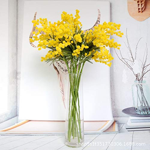 wwwl Flores Artificiales 5 Tenedor 57cm Rama De Flor De Mimosa Artificial Estambre Amarillo Falso Flor De Acacia De Seda Plantas Falsas Transporte De Flores Pequeñas Decoración De Otoño