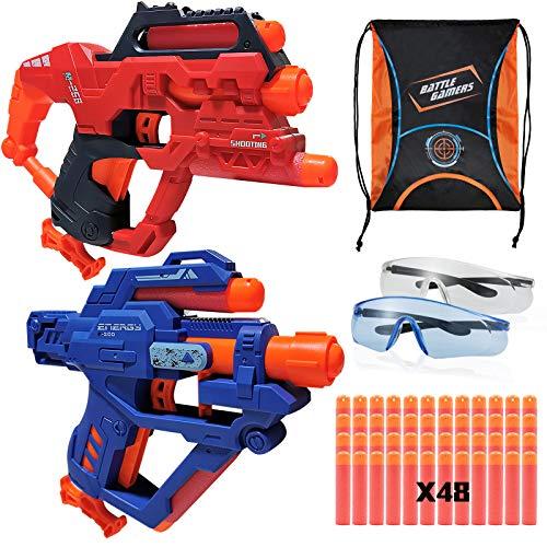 Juego de pistola Blaster compatible para dardos Nerf Mage Whistle con 48 balas de espuma de repuesto, 2 gafas de seguridad y bolsa organizadora, para niños de 6 años más