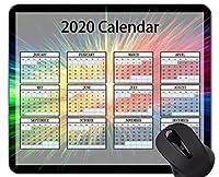 カレンダー2020年ゲーミングマウスパッド、カラフルでカラフルなゴム製マウスパッド