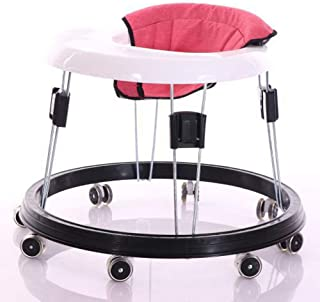 Adjustable Height Baby Walkers for Boys and Girls with Easy Clean Tray and 8 Universal Wheels, Anti-Rollover Folding Toddler Walker for Baby 6-18Months (Flax Red Cushion)