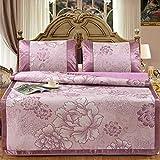 LinZX 3 / Set tappeti di Seta Comodi Letti Fresco Ghiaccio d'Estate,C,90x195cm 2pcs