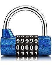 Surplex 5-cijferig combinatieslot hangslot, combinatieslot, resetbaar voor school, gym, case, gereedschapskist, hek, kast, enz., rood en zwart (blauw)