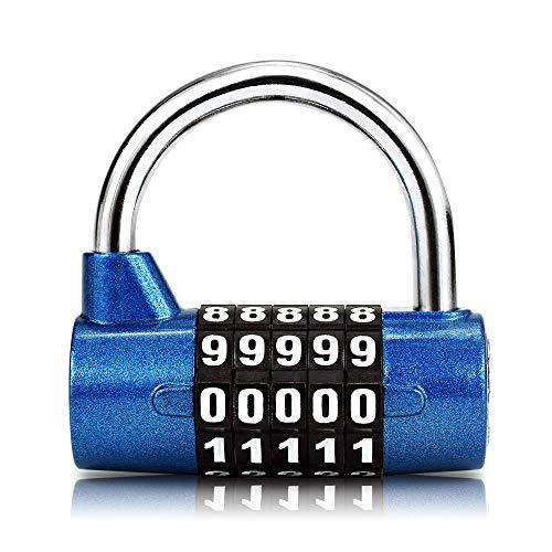 Surplex Cerradura de la Combinación de Seguridad Candado de 5 Dígitos, Juego de Candado Impermeable Antirruido Reajustable, para Gimnasio al Aire Libre Oficina de la Escuela Casa Maleta (azul)