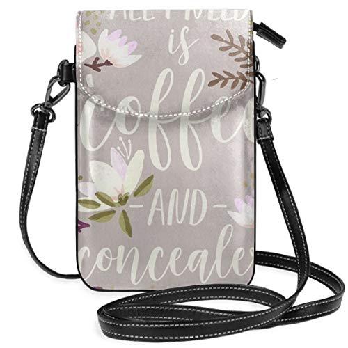 Kaffee- und Concealer-Palette, leicht, kleine Umhängetasche, Handtasche, Geldbörse für Frauen, Mädchen, mit praktischem Tragen.