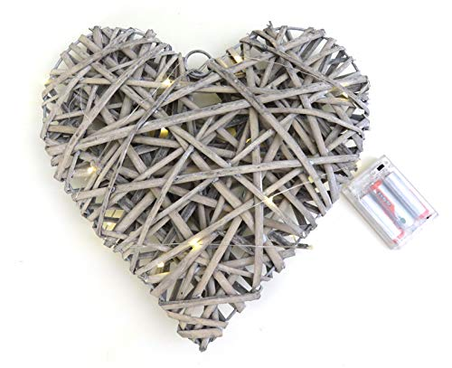 Link Products Valentines Vintage Look 30 cm Willow Heart. 20 Free LED Battery Lights - No batteries included