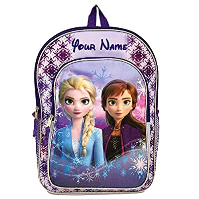 Personalized Disney Frozen 2 Snow Queen Elsa and Princess Anna Characters Backpack Bookbag for Back to School with Custom Name