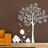 wZUN Pegatinas de Pared extraíble Elefante Globo árbol Fondo Mapa Papel Tapiz Dormitorio Sala de Estar decoración de la Pared de la habitación de los niños 57X63cm