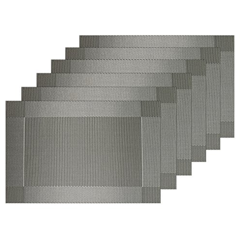 Guwheat Placemats Dining Room Table Mats Woven Vinyl Washable Durable Heat-resistant Non-skip Kitchen Strip PVC Placemats (6, Silver Grey)