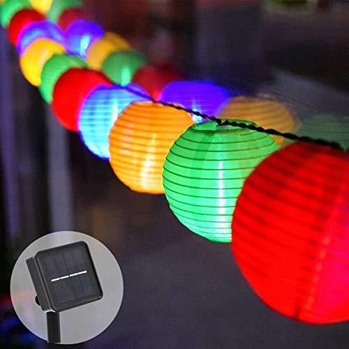 Lamker 20 LED Solar Lichterkette Lampions Laterne Außenlichterkette Solarbetrieben Wasserdicht Beleuchtung Außen Dekoration für Outdoor Party Garten Terrasse Hof Weihnachten Fest Hochzeit Mehrfarbig