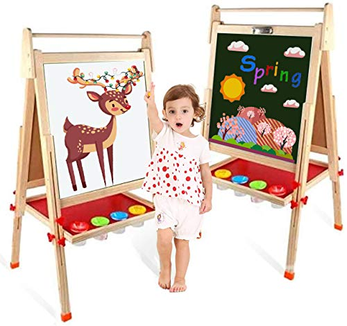 EAQ Easel for KidHeight Adjustable Wooden Art EaselWhiteboard Chalkboard with Paper Roll HolderLetters and Numbers Magnets and Other Accessories Best Birthday Gift for Kids