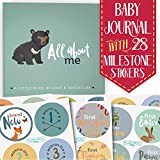 First Year Baby Memory Journal Book + Bonus Monthly Milestone Stickers. Baby Shower Gift + Keepsake to Record Photos + milestones. Five Year Scrapbook + Picture Album. Boy + Girl Babies. (Woodland)