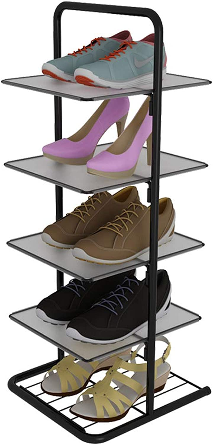 shoes Rack shoes Tower Convenient Mobile shoes Rack Safe and Stable shoes Tower Anti-Corrosion and Anti-Rust Storage Rack (color   Black, Size   27  28  71CM)