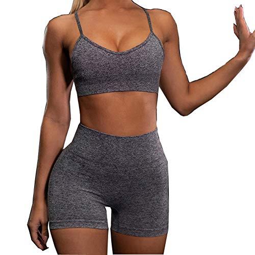 Loalirando Conjunto de 2 piezas para mujer y niña, chándal deportivo + pantalones cortos de cintura alta para yoga, correr, gimnasio, fitness gris M