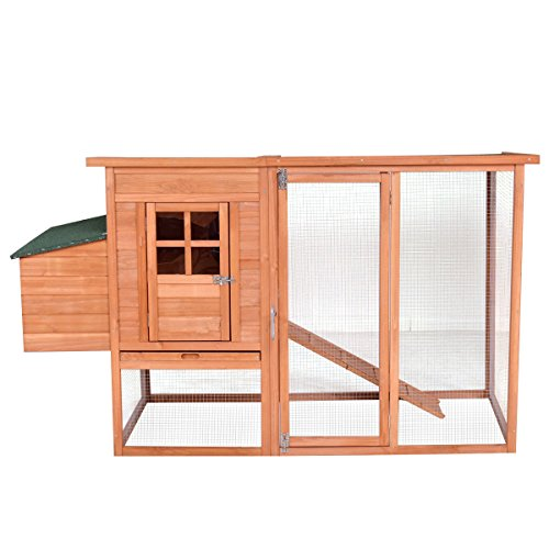 Tangkula Chicken Coop 68' Rabbit Hutch Wooden Garden Backyard Bunny Hen Small Animal Cage Nest Box with Run