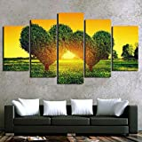 DBFHC Art Cuadros En Lienzo Árboles En Forma De Corazón Verde Decoracion De Pared 5 Piezas Modernos Mural Fotos para Salon Dormitori Baño Comedor 150X100Cm