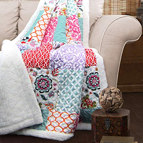 Lush Decor, Purple and Turquoise Brookdale Reversible Throw-Colorful Floral Pattern Patchwork Blanket-60 x 50', 60 x 50