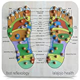 Foot Massager and Reflexology Tool - 30x30x1 cm - Hand Crafted Massage Board for Heel and Foot Pain Relief - Complete Body Targeting Acupressure Foot Mat with Chart Can Reduce Stress, Aches