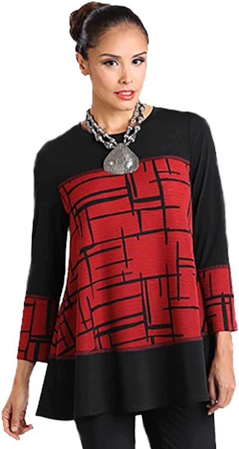 IC Collection Mixed Media Tunic in Wine & Black  1262T