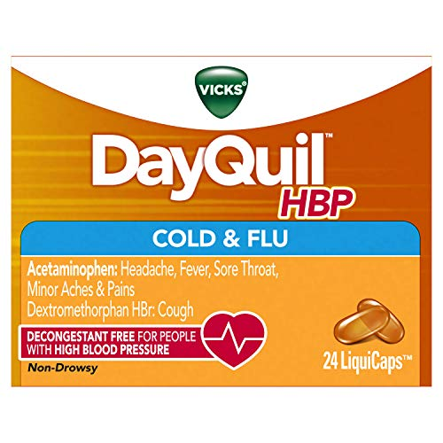 Vicks DayQuil Cold and Flu Medicine for High Blood Pressure, Relieves Headache, Fever, Sore Throat, Minor Aches and Pains, 24 LiquiCaps