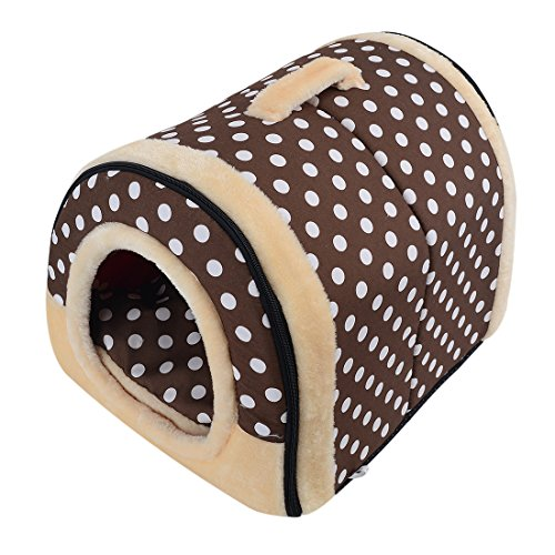 Freahap L,M,S Hundebett Katzenbett Hundehöhle Hundehütte Tragbar Outdoor/Indoor (M, Punkte)