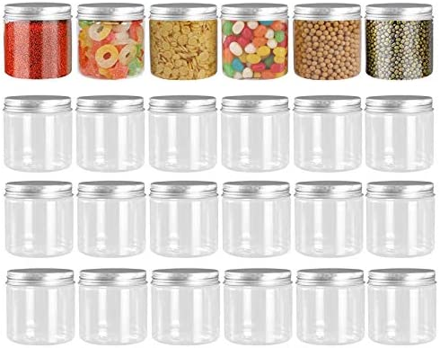 24 Pack 12oz 350ml Clear Empty Plastic Jars with Wide Mouth Silver Metal Lids For Dry Food Peanut product image