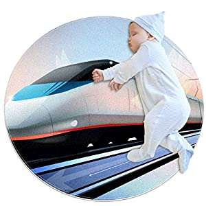 Baby Rug Light Rail Train Round Tent Rug Super Soft Nursery Rug Anti-Slip for Infants Toddlers 31.5×31.5in
