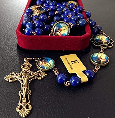 Elegantmedical - Collar católico hecho a mano con cuentas de lapislázuli envejecidas hechas a mano de 5 décadas, caja cruzada