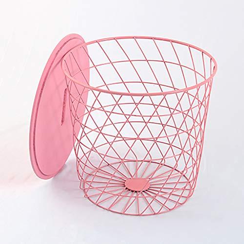 Petite table basse Côté nordique en fer art canapé chambre chevet panier de rangement avec couvercle Petite table ronde (Couleur : A)