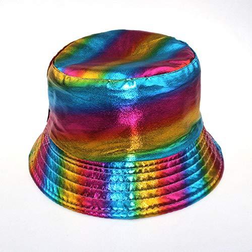 sdssup Cappello da Pescatore a Traliccio colorato Cappello Pieghevole da Viaggio della Signora Cappello da bifacciale Selvaggio Indossando Un Cappello Interno Arcobaleno Nero codice