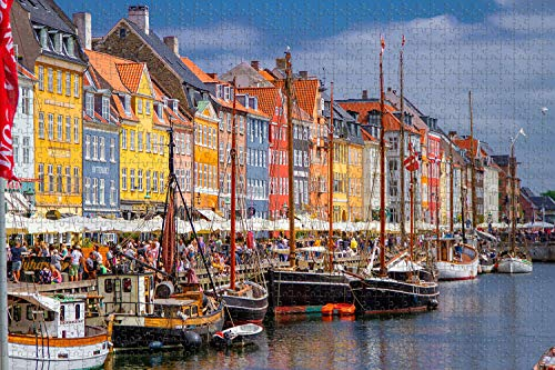 Denmark Nyhavn Copenhagen Jigsaw Puzzle for Adults 1000 Piece Wooden Travel Gift Souvenir