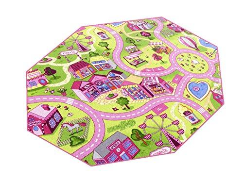 HEVO Sweet Town Teppich | Spielteppich | Kinderteppich 200 cm Achteck