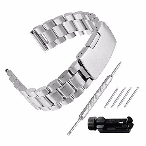 Echthaarverlängerung Armband zeigt 24mm Stahl 304Ersatz mit Armband Link Pin Remover Set Reparatur Werkzeugset Armband hat Schnalle, Band Handgelenk-Wasserdicht Watch Band Silber Set