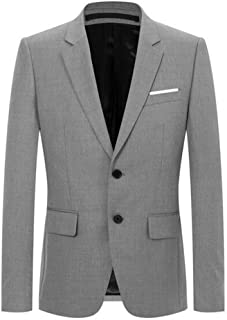 Men's Slim Fit Jacket Blazer Two Buttons Peak Lapel Tuxedo Coat Prom Party Jacket Casual Blazer