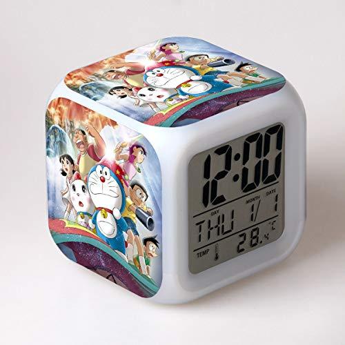 HHIAK666 Reloj Despertador Doraemon, Robot Cat Estudiante Regalo para Niños Reloj Despertador Colorido, Cambio De Color Led Reloj Cuadrado 8Cm L