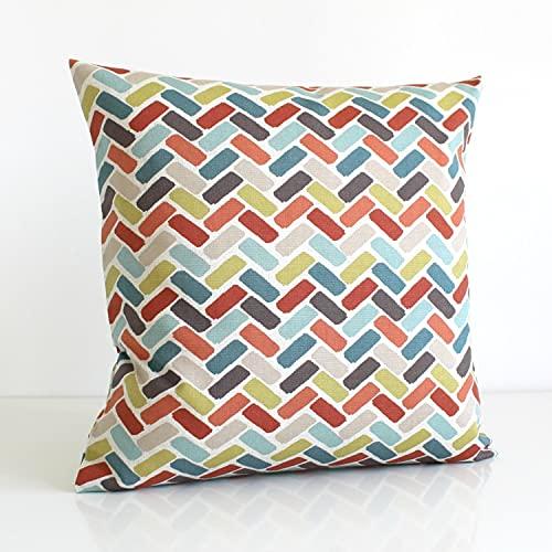 Funda de almohada decorativa para mamá y papá, 16 x 16 cm, 18 x 18 cm, funda de cojín, geométrica, almohada de lanzamiento, naranja, verde azulado, beige – Chock-A-Block Spice Funda de cojín sofá cama