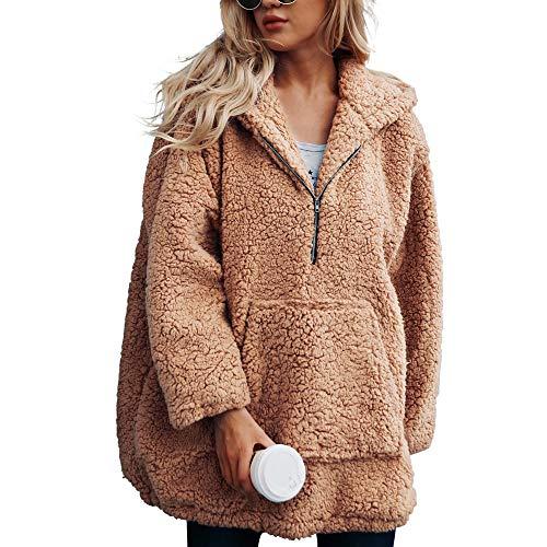 Chenang Faux Wolle Lammfell einfarbig Kapuzen-Reißverschluss Pullover Mantel Womens warme künstliche Sweatshirt Winter Parka Oberbekleidung Damen Sweatjacke Kapuzenjacke Hoodie