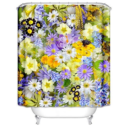 Knbob Duschvorhang Badewanne Frühlingsblumen Pflanze Shower Curtain Bunt Duschhaken Duschvorhang 90X180CM
