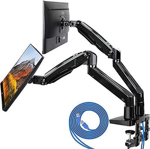 HUANUO Dual Monitor Mount Stand - Long Double Arm Gas Spring Monitor Desk Mount for 2 Screens 22 to 35 Inch Height Adjustable VESA Bracket with Clamp, Grommet Base -Each Arm Hold up to 26.4 lbs