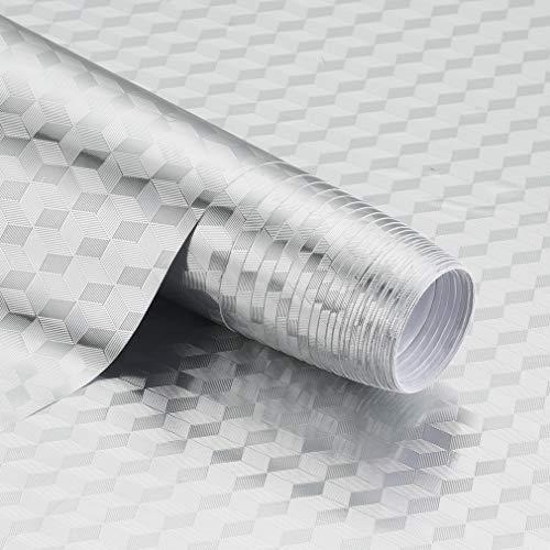 KINLO 60x500CM Aluminium Folie Aufkleber Küchen Selbstklebende Küchenfolie Hitzebeständig Tapete Öl-Resistent Wasserdicht Anti-Schimmel DIY Möbel Folie für Küchen/ Schrank/ Möbel