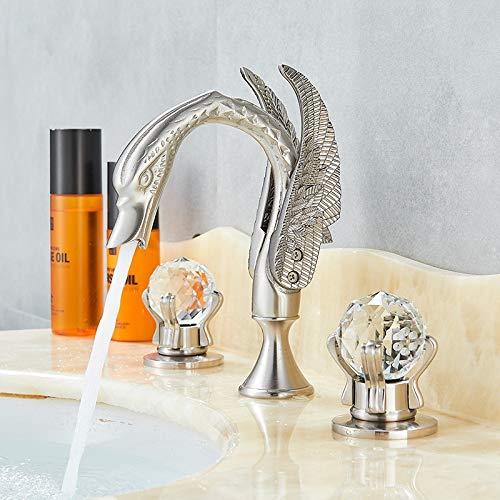 Grifo de baño de lujo Grifo de lavabo con forma de cisne dorado de latón Cubierta de doble manija Montura Mezclador Grifo Grifos para lavabo Mezclador de agua fría y caliente