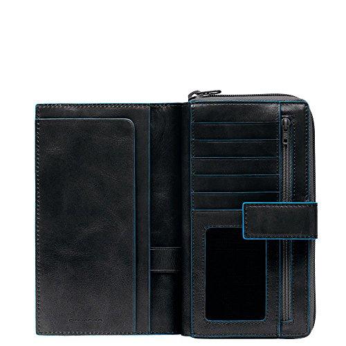 Piquadro Blue Square Portamonete con 12 Alloggiamenti per Carte di Credito, 18 cm, 0.75 litri, Nero