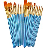 BOSOBO Paint Brushes Set, 2 Pack 20 Pcs Round Pointed Tip Paintbrushes Nylon Hair Artist Acrylic Paint Brushes...