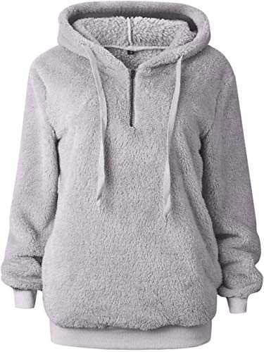 Bwiv Women's Baggy Fluffy Pullover Hoodie Soft Teddy Fleece Jumper with 1/4 Zipper and Drawstring for Winter Ladies Long Sleeves Sweatshirt Soft Tops Girls Light Grey XL