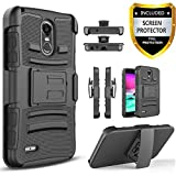 LG Stylo 3 Case, LG Stylo 3 Plus Case, with [Premium Screen Protector Included] Built-In Kickstand Hybird Shockproof Phone Cover With Belt Clip HolsterFor LG Stylo 3 /LG Stylo 3 Plus -Black