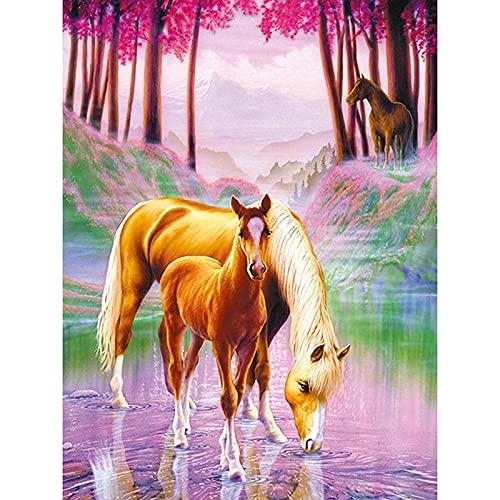 5D Pintura de Diamantes Caballo animal en el río DIY Pintura al oleo por numeros con punto de cruz y diamantes de imitación 40x50cm