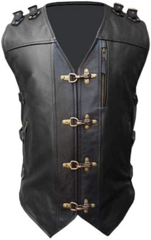店内全品対象 Men Real Black Cow お得セット Leather Vest Styl Heavy Biker Duty Motorcycle