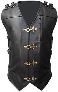 Men Real Black Cow Leather Vest Heavy Duty Motorcycle Biker Style Vest Waistcoat