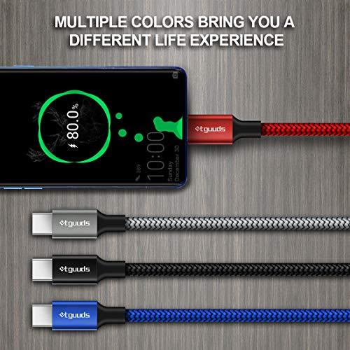 etguuds Kurzes USB Typ C Kabel 3A Schnellladekabel, etguuds Premium geflochtenes USB C Ladekabel kompatibel mit Samsung Galaxy S20 S10 S9 S8 Plus S10E, Note 10 9 8, A10e A20 A51 A71, Moto G8 G7 G6