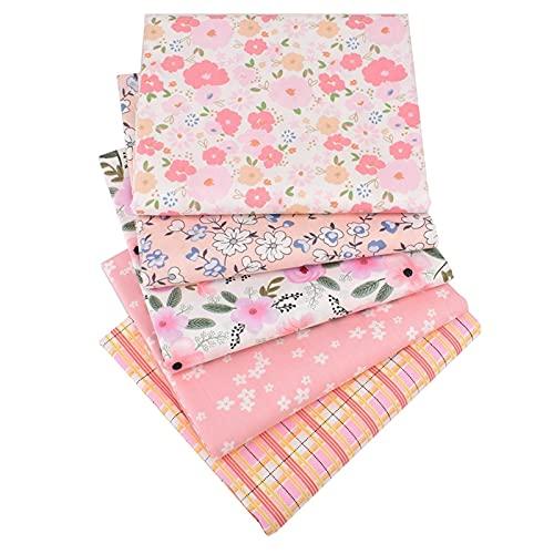 AFANGMQ 5 PCS 40x50cm, Tela de algodón de Sarga Impresa, más Nueva Serie Floral Rosa, Ropa de Patchwork para la Costura de Bricolaje Que acolcha la Ropa de Cama para niños,100% algodón